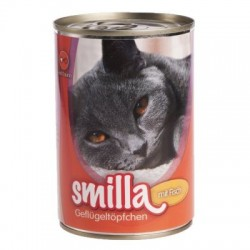Smilla Gevogelte- en Vispannetje kattenvoer 6 x 400 g - tonijn met sardientjes